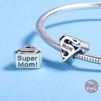 Super Mom Charm Beads In 925 Sterling Silver MOM Letter Engrave Beads Fit Charm Bracelets & Bangles Jewelry Mother's Day Jewelry