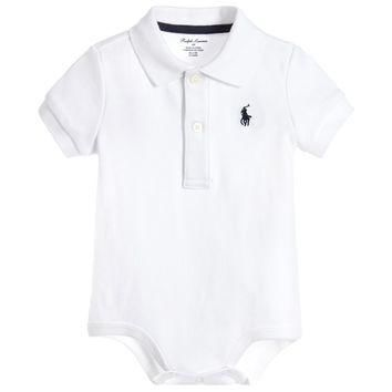 Baby Boys White Bodyvest Polo Shirt