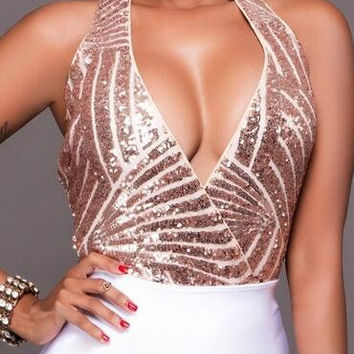 Champagne Sequins Halter Backless Deep V-Neck Short Jumpsuits Bodysuits