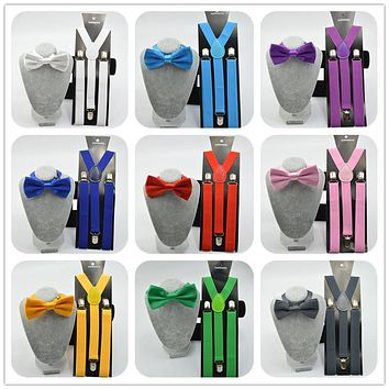 Unisex Adjustable Clip-on Braces Elastic Y-back Suspender and bow ties set  for women / men  wedding party