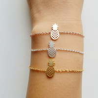 Dainty Pineapple Bracelet - Friendship Charm Bracelet & Reminder of Your Perfect Tropical Vacation!