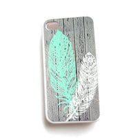 iPhone 5 iPhone 4 iphone 4S Galaxy S4 Case Feathers Mint Ships from USA