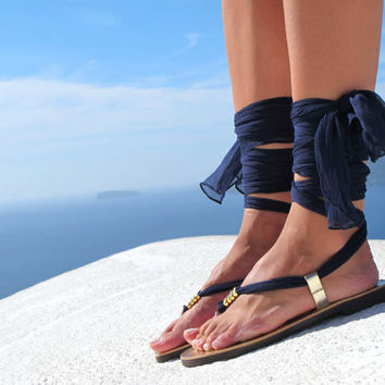 Greek sandals, Luxurious Sandals with interchangeable silk scarf laces, Bridal sandals, Wedding flats. Fully Customizable. Sophia 05.