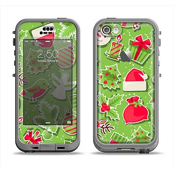 The Red and Green Christmas Icons Apple iPhone 5c LifeProof Nuud Case Skin Set