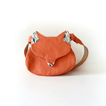 Kawaii bag, cat purse, gift for her, woodland fox purse, fox bag, salmon pink phone wallet, lolita fashion