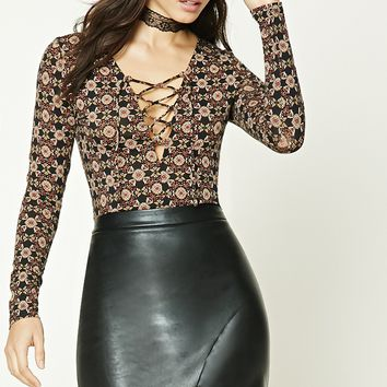 Ornate Print Lace-Up Top
