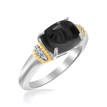 18K Yellow Gold & Sterling Silver Claw Set Oval Onyx Ring