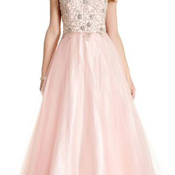 Beaded Bodice A-line Ball Gown with Spaghetti Straps Blush