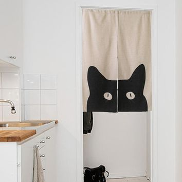"""Japanese Noren Doorway Curtain / Tapestry 33.5"""" Width x 47.2"""" Long with Black Cat"""