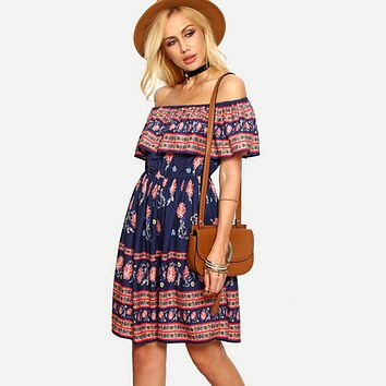 Fashion Off Shoulder Flower Print Frills Strapless Beach Mini Dress