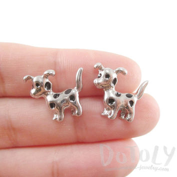 Small Dalmatian Puppy Dog Animal Shaped Stud Earrings