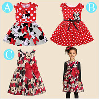 2017 New summer dress  Minnie Mouse Dress girls clothes  printing dot sleeveless dress dress girl fashion