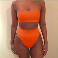 Sexy strapless nude two piece high waist bikini Orange