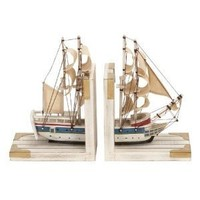 "Bookends Nautical Sailboat Bookend 9""h, 6""w Wood Book Ends"