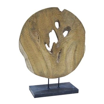 Round Wood Art Teak Wood Black Marble