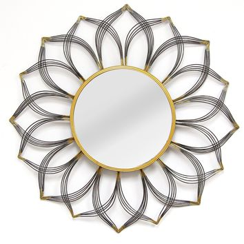 Barranda Black and Gold Floral Metal Wall Mirror