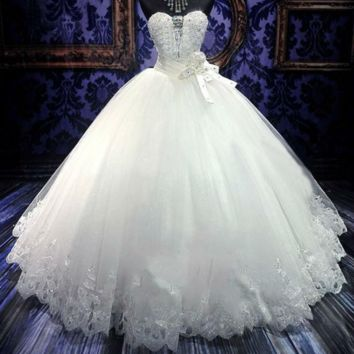 Beautiful Crystal Beading Ball Gown Wedding Dress New Embroidery Appliques Off Shoulder Bride Dress Wedding Gown