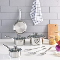 Mainstays 10-Piece Cookware Set, Stainless Steel - Walmart.com