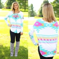 Artistic Aztec Top in Mint