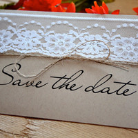 Lace Photo Save the Date  Rustic Weddings by RusticEleganceDesign