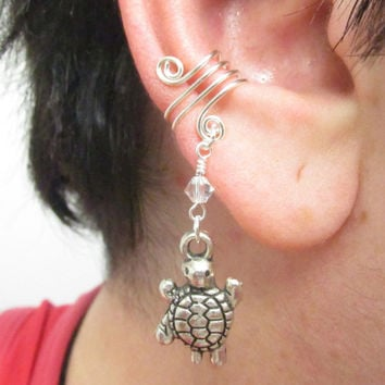 Ear Cuff, Ear Wrap, Simple Ear Cuff, Turtle Charm, Helix Accessory, Cartilage Earring, No Pierce Jewelry, Helix Cuff, Cartilage Cuff