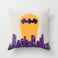 Batman Throw Pillow by Ann Van Haeken
