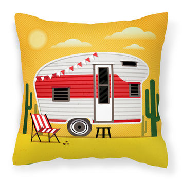 Greatest Adventure Retro Camper Desert Fabric Decorative Pillow BB5479PW1818