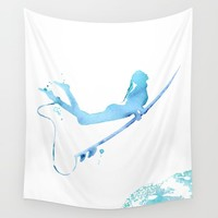 Duck Diving - Surf Art of Surfer Girl Wall Tapestry by coraillustration