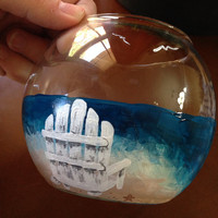 Hand Painted Beach Theme Ocean Fish Bowl/Candle Holder 5inch