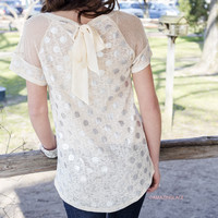 I Run To You Cream Metallic Polka Dot Bow Back Top