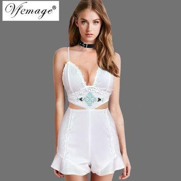 Vfemage Women Sexy Backless Floral Embroidery Lace Open Chest Cutout Juniors Casual Party Overall Playsuit Rompers Jumpsuit 6873
