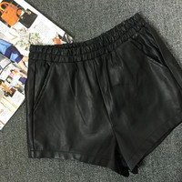 Black Elastic Waistline Faux Leather Mini Shorts