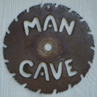MAN CAVE Saw Blade Sign Wall Hanging - UPCYCLED Saw Blade - Wall Decor- Stock Photo