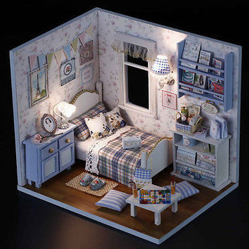 1X DIY Kids Miniature Doll House Toy Wooden House With Furnitures Model Kit TB