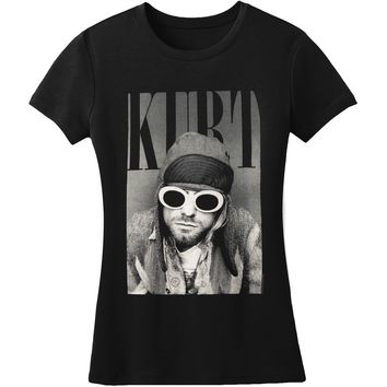 Nirvana  Kurt Cobain With Shades Junior Top Black