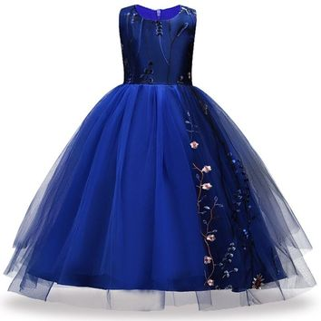 Teens 4-14 Years Party prom Dress Wedding Flower Girl Dress Kids Girls elegant Princess Sleeveless Pageant Formal Dress