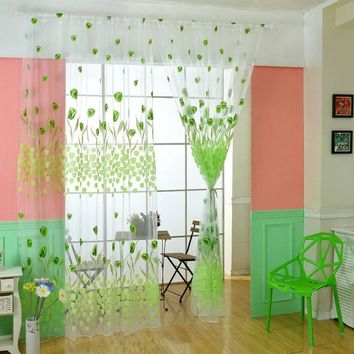 New Tulip Flower Voile Window Curtain Door Room Divider Sheer Panel Drapes Window Scarfs