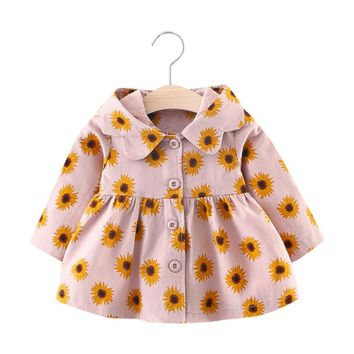 New Winter children coats floral girls hooded Cloak jackets long sleeve outerwear for kids Thick Warm Clothes