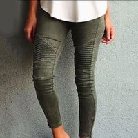 Women's slim Fit zipper jeans like long Pants a13557