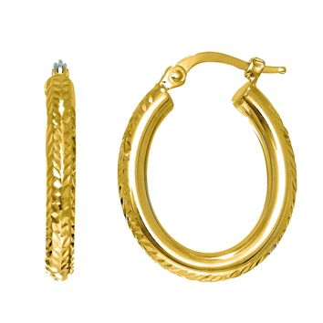 14K Yellow Gold Shiny Diamond Cut Oval Shape Fashion Sparkle Hoop Earring with Hinged Clasp