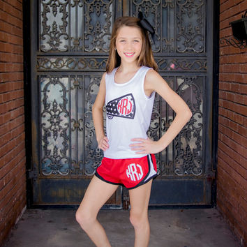 Monogram Running Shorts, Cheer Shorts, Athletic Shorts, Monogrammed Shorts, Cheer, Sporty, Crossfit, Gym, Athletic Wear - Thread Embroidery