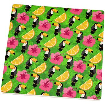 Tropical Vacation Tucan Pattern Set of 4 Square Sandstone Coasters