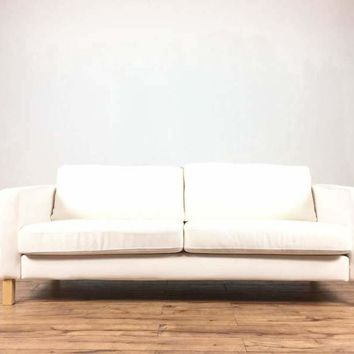 Mid-Century Modern Style White Upholstered Two-Cushion Sofa