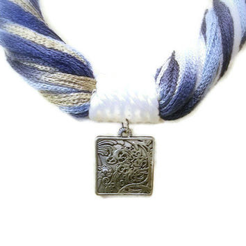 Blue Fiber Statement Necklace, Summer Multicolor Yarn, Navy, White, Engraved Square Antique Silver Metal Pendant, Large Lobster Clasp
