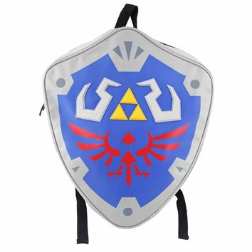 High Quality The Legend of Zeld Cosplay Backpacks Zelda link Shield Backpack PU Bag in Tag Christmas Gift Cosplay Bags
