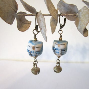 Blue Owl Earrings