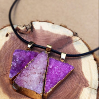 Triple purple triangle druzy stone necklace