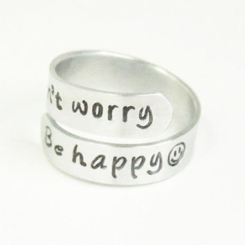Don't worry Be happy ring - Smiley face ring - Message ring Happy ring Cheerful ring - Motivational ring - Stamped ring