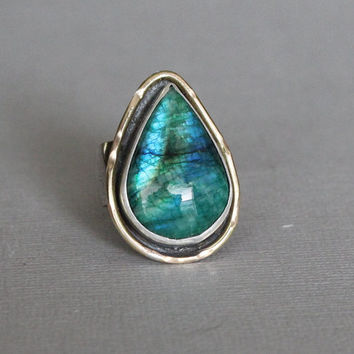 green labradorite ring -  blue labradorite ring - natural labradorite ring - plus size ring - large green gemstone ring