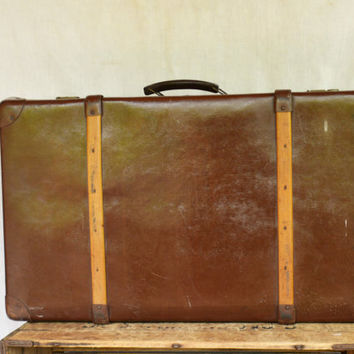 ANTIQUE Leather Trunk, Vintage German Suitcase, Large Automobile Suitcase, Echt Vulkanfiber Steamer Trunk
